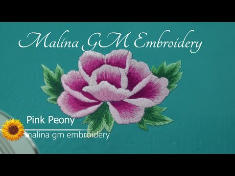 Hand Embroidery : Flower — Pink Peony || Long and Short Stitches (part 2)