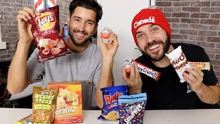 MODELS TRY CANADIAN SNACKS!! with JEFF WITTEK!!