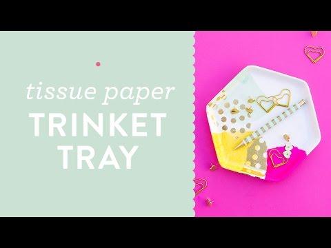 DIY Easy Decoupage Tissue Paper Trinket Tray Tutorial