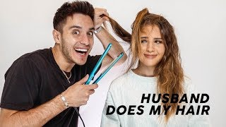 My husband tries doing my hair!!