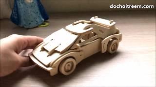 Đồ chơi LẮP RÁP XE HƠI 3D bằng gỗ, chị Chim Xinh lắp ráp xe đồ chơi mui trần siêu đẹp