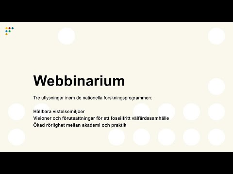 Webbinarium: Tre utlysningar inom nationella programmen