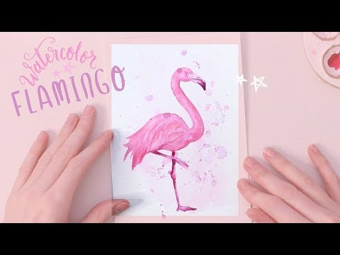 PAINTING A FLAMINGO - Watercolor Speed Painting Demonstration