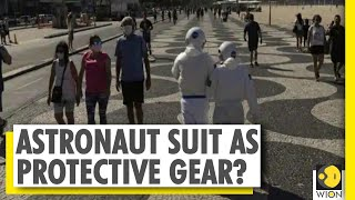 Spacewalk on the beach: Brazil couple dons astronaut suits..