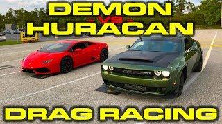 840HP Dodge Demon vs Lamborghini Huracan LP610-4 1/4 Mile Drag Racing - 3 Races