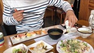 |Tập 139| Cả nhà đi Sushi,udon,tôm chiên bột ở quán Nhật.Sushi,udon,fried shrimp eating show.