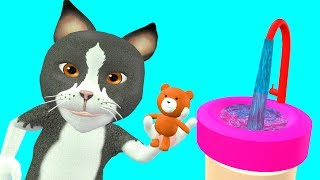 Baby cat washes His Bear Toy - Finger Family