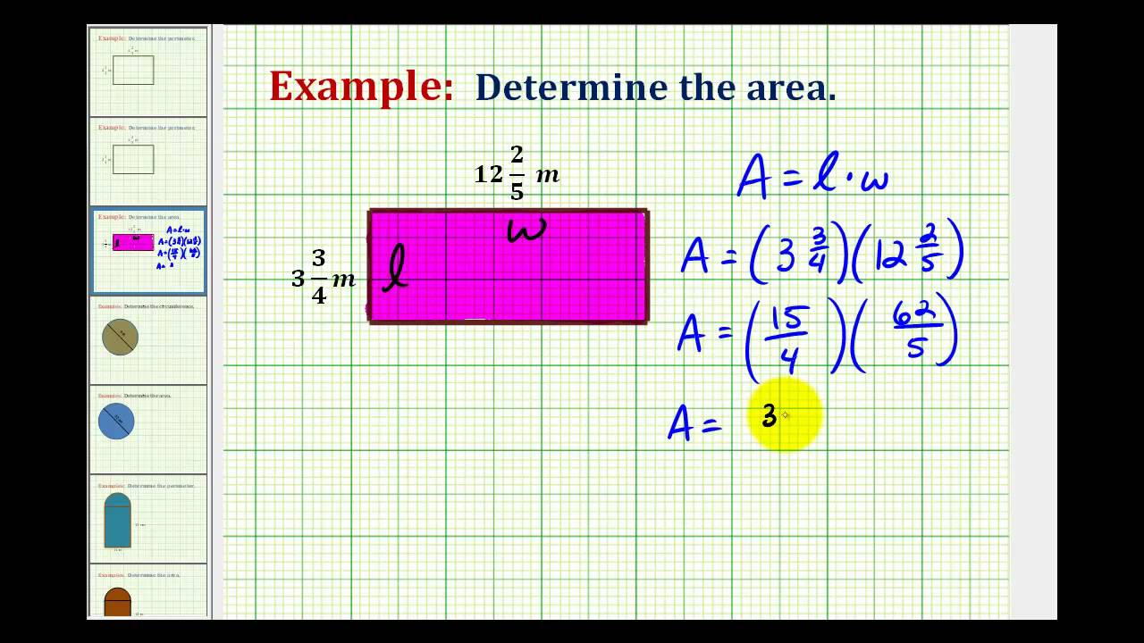 Example Determine The Area Of A Rectangle Using Mixed