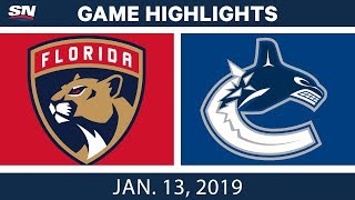NHL Highlights | Panthers vs. Canucks - Jan. 13, 2019