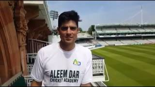 Alastair Cook congratulating Aleem Dar