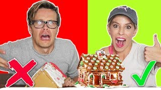 GINGERBREAD HOUSE CHALLENGE HUSBAND vs. WIFE!