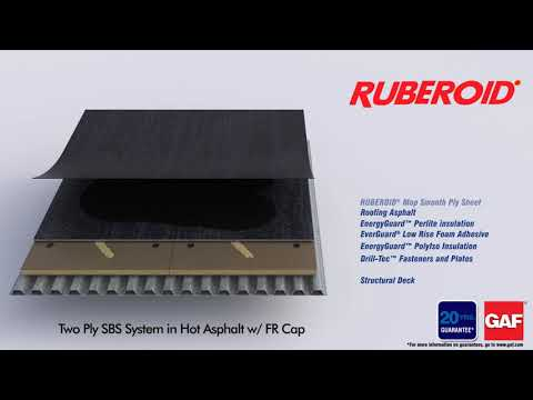 Ruberoid Two Ply SBS System in Hot Asphalt with FR Cap by GAF