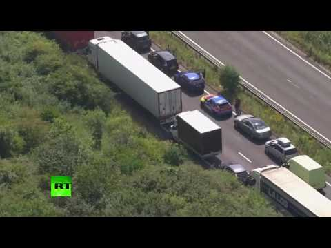 Heighted Security: Border checks cause traffic jam for cars, trucks at English Channel