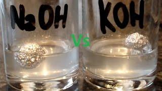 Sodium hydroxide Vs Potassium hydroxide reaction with Aluminum