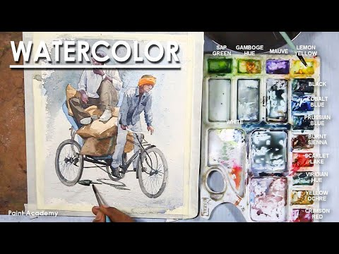 Watercolor Painting : A Composition on Cycle Rickshaw