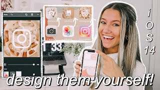 *iOS 14* how to design + create your own custom app icons for FREE on your phone! (QUICK AND EASY!)