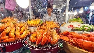 Thai Street Food in Bangkok. Central World Square Food Market on Christmas Day