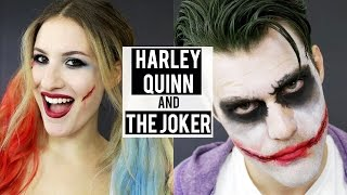 HARLEY QUINN + THE JOKER Halloween Makeup Tutorial | Couples Costumes | JamiePaigeBeauty