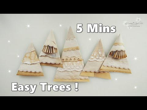 TEA Dye Paper Christmas Trees Ornaments No Cost Budget ♡ Dress My Craft Tools ♡ Maremi's Small Art ♡