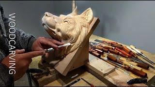 Резьба по дереву .Wood carving Wolf