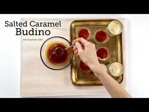 Caramel Budino with Salted Caramel Sauce & Snowflake Finishing Salt