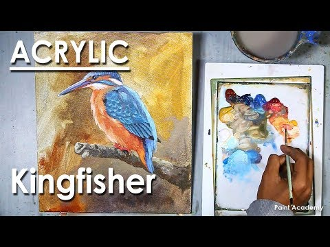 How to Paint A Kingfisher Bird in Acrylic step by step