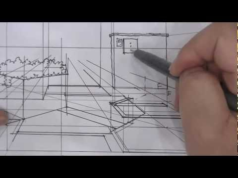How to draw Japanese Landscape(1-point Perspective)