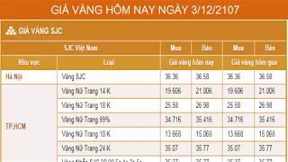 GIÁ VÀNG HÔM NAY NGÀY 3/12/2017 - Vàng SJC  - PNJ - DOJI - Vàng GOLD - vàng thế giới -vàng 9999