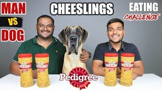 MAN VS DOG CHEESELINGS EATING CHALLENGE | Cheese Biscuits Eating Competition | Food Challenge