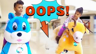 RIDING GIANT ANIMALS AT THE MALL (ACCIDENT!)