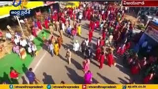 Drone Video: Indrakeeladri Turns Red With Bhavani Devotee..