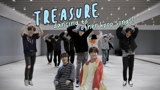 treasure dancing to other kpop songs! (bts, blackpink, oh my girl, nct127, etc)