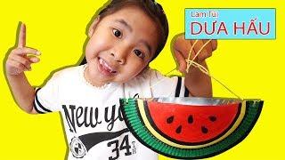 Bé Bún Tự Làm Cái Túi Dưa Hấu bằng Đĩa Tròn | DIY Watermelon Bag Paper Crafts