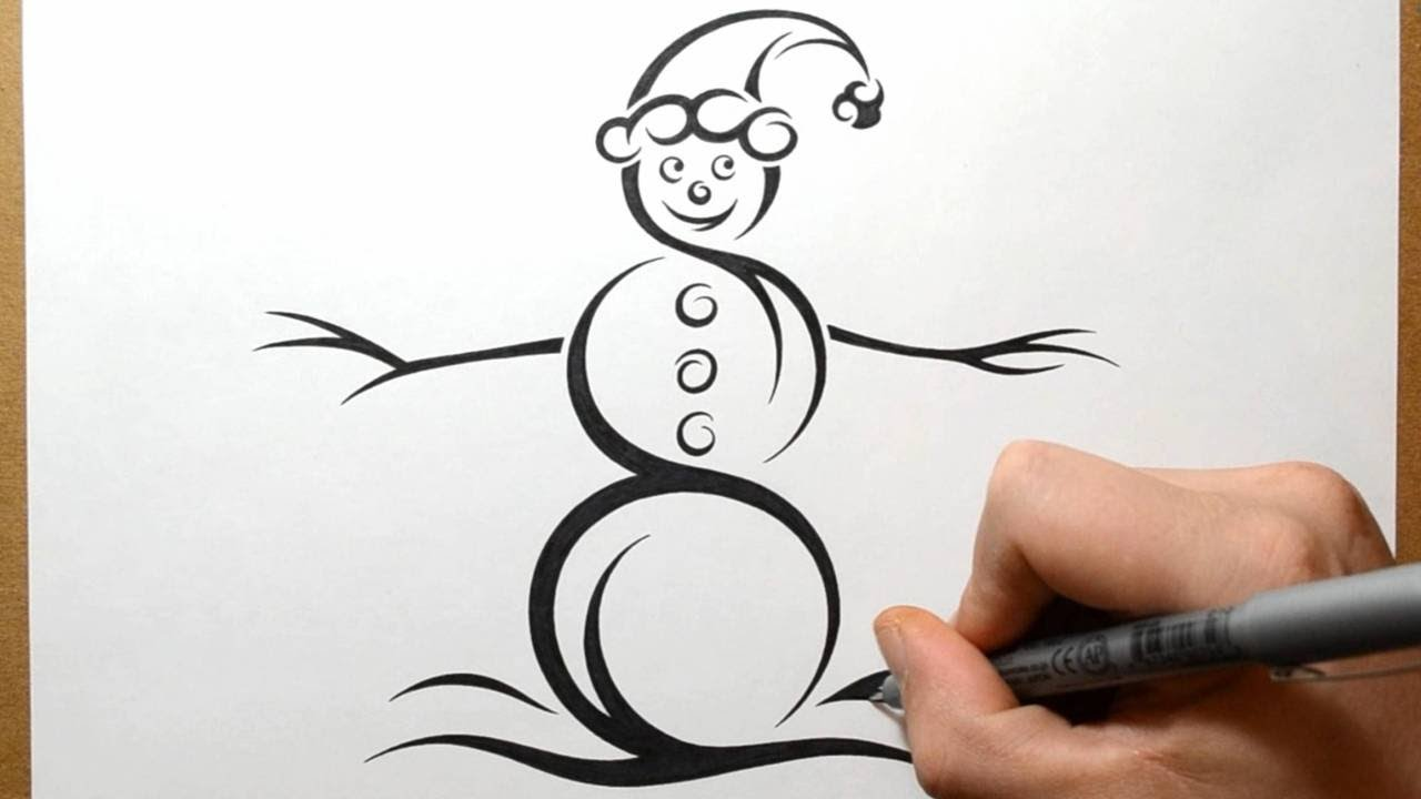How To Draw A Snowman - Tribal Tattoo Design Style