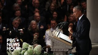 Watch President Barack Obama's full tribute to John McCain at National Cathedral