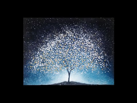 Surreal Fantasy Tree & Stars Acrylic Painting Abstract Silhouette Landscape Painting Demo