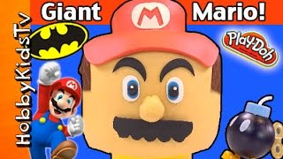 Giant SUPER MARIO Lego Head Makeover with Play-Doh
