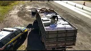 PRF apreende caminhão com grande quantidade de mercadorias estrangeiras ilegais em Pinheiro Machado