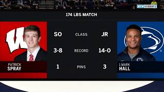 174 LBS: Patrick Spray (Wisconsin) vs. #1 Mark Hall (Penn State)
