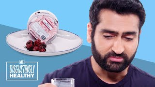 Kumail Nanjiani Cries Tears of Pain Tasting Vegan Blue Cheese | Disgustingly Healthy | Men's Health