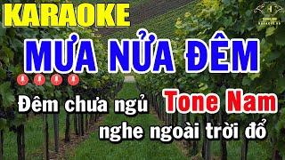 Mưa Nửa Đêm Karaoke Tone Nam Nhạc Sống | Trọng Hiếu