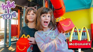 Twins Kate and Lilly go to McDonald's and get Happy Meals!!