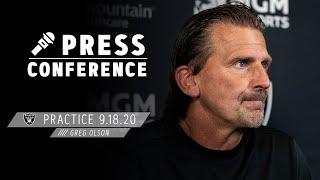 Coach Olson Talks Drew Brees & Depth on the Offensive Line | Las Vegas Raiders