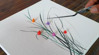 Easy & Simple / Abstract Floral Painting / Demo For Beginners / Daily Art Therapy / Day#0128