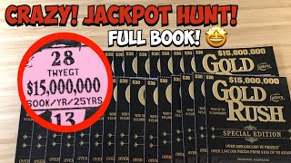 Crazy Jackpot Hunt!   $900 Full Book of the $30 Gold Rush with a $15,000,000 Top Prize