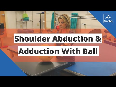 SaeboMAS Exercise - Sitting Shoulder Abduction and Adduction with Ball