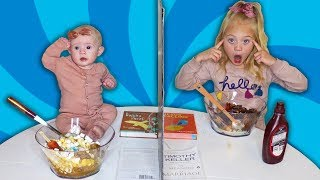 Twin Telepathy Ice Cream Sundae Challenge VS My Baby Sister!!!