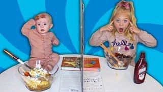 Twin Telepathy Ice Cream Sundae Challenge VS My Baby Sister!!!