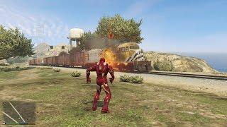 GTA 5 Iron Man Mod - Lấy Người Sắt Chặn Xe Lửa, Phá Đập Thuỷ Điện?