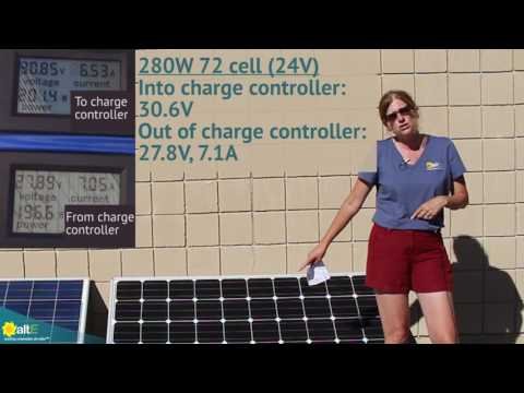 This is part two of a video series showing the effectiveness of using 60 cell solar panels, a.k.a. 20V solar panels, to charge a 24V battery bank. The previous version used a PWM charge controller, this one uses an MPPT charge controller. We compare chargi